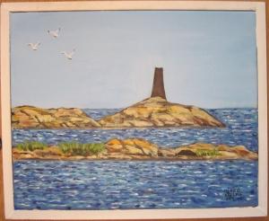 Svarta utterklabben (Arkösunds skärgård) 36x43,5 cm målad av Ingrid Käfling