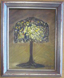 Lampa 21x17 cm målad av Britt Stenils - Nilsson
