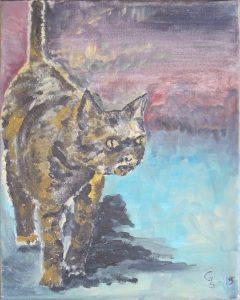 Smygande katt 30x25,5 cm Målad av Gunilla Svärd