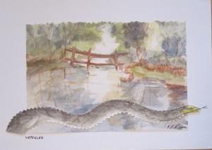 Vattenlek 20x28 cm Målad av Britt Stenils-Nilsson